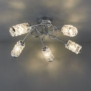 Colby 5 Light Flush Fitting in Polished Chrome with Glass Beaded Shades IP44 - ENDON 73601